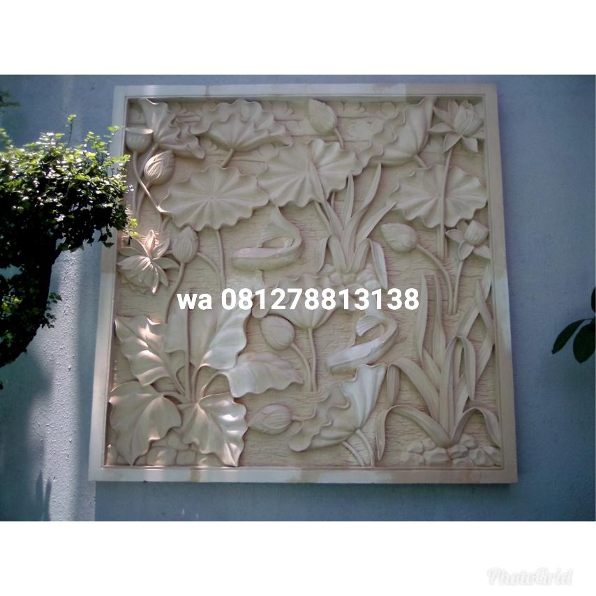 relief motif bunga teratai